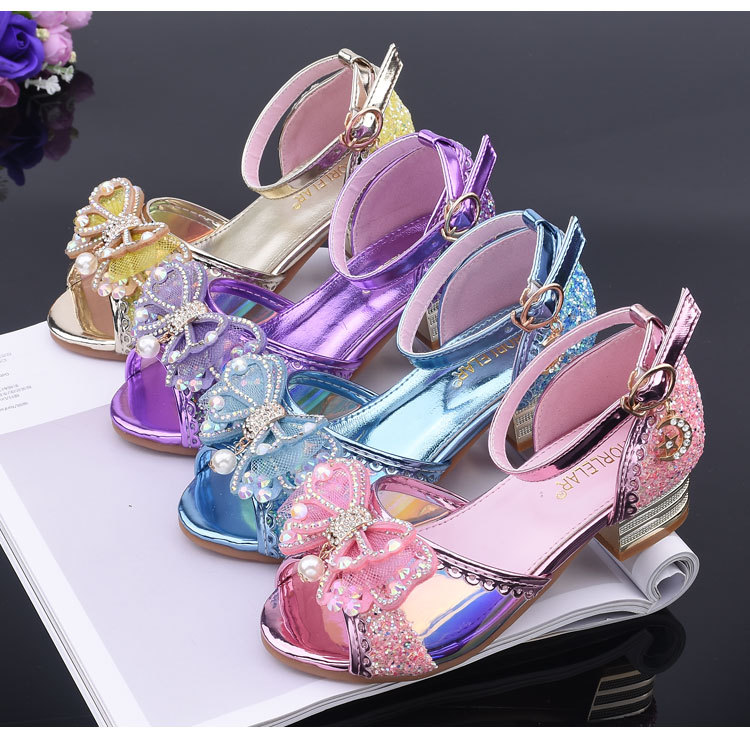Children Girl Glitter PU Shoes Dance Crystal Bead Shoes High-heeled Party Princess  Shoes 26-37 4colors TX01