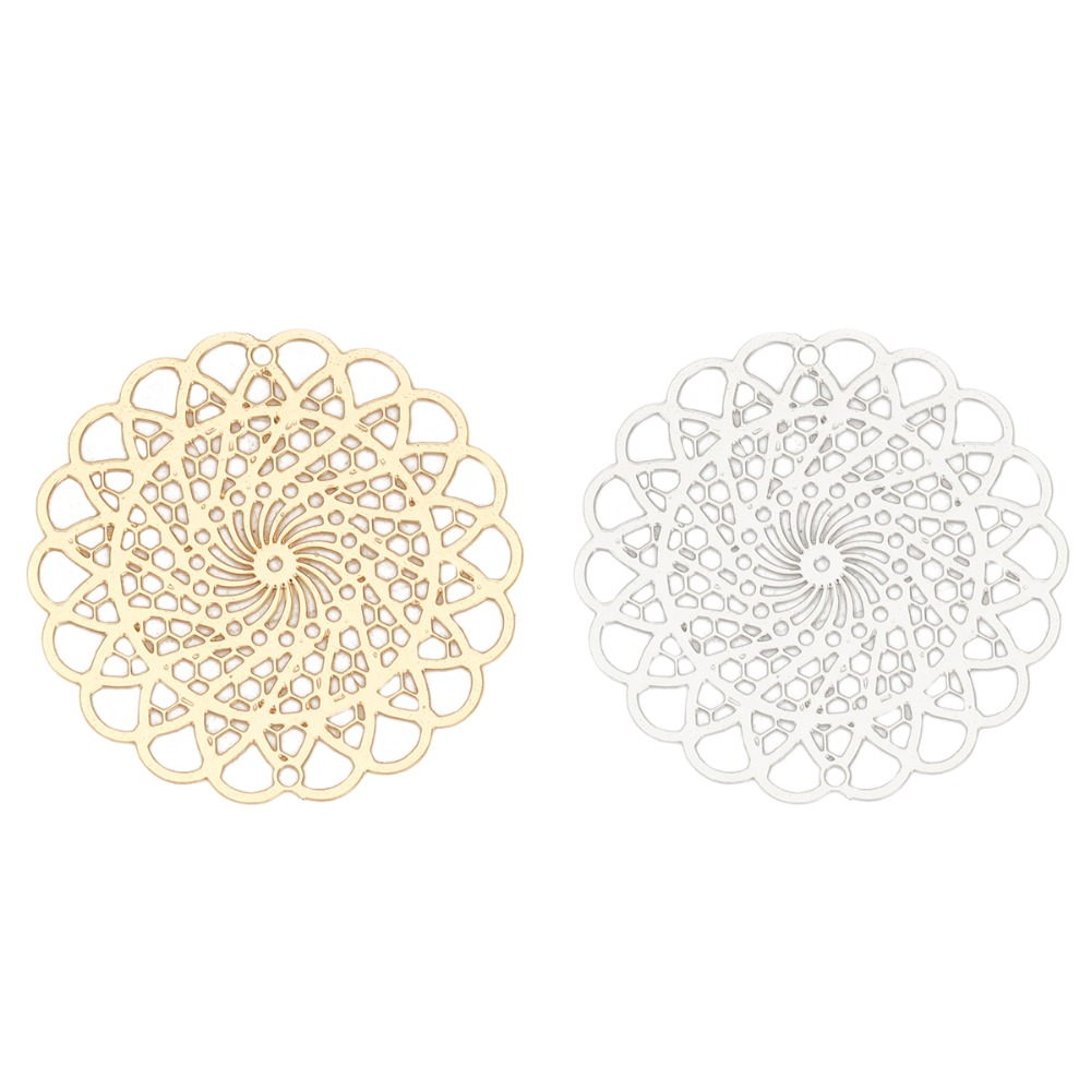 DoreenBeads Fashion Iron Based Alloy Filigree Stamping Connectors Flower Silver Tone Gold Jewelry DIY Charms 30mm X 30mm, 10 PCs
