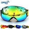 COPOZZ Brand Ski Goggles Double Layers UV400 Anti Fog Big Ski Mask Glasses Skiing Men Women