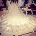 Gorgeous Appliqued  3 Meter Cathedral Wedding Veil Beading Lace Edge Crystal Luxury One-Layer Wedding Veils 001