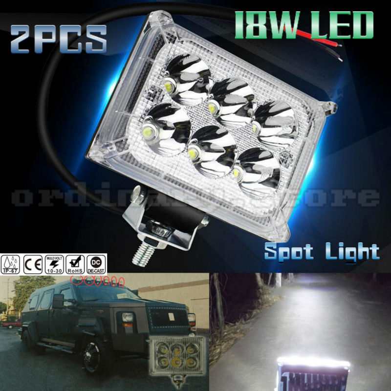 2PCS Super Bright 18W 6 LED Car 4WD Truck Offroad SUV ATV Bar Boat Work Light Headlight Driving Fog Spot Night Safety Lamp 18w work lights spot lamp off road driving fog 6 led bar atv 4x4 truck suv car styling auto parts accessories
