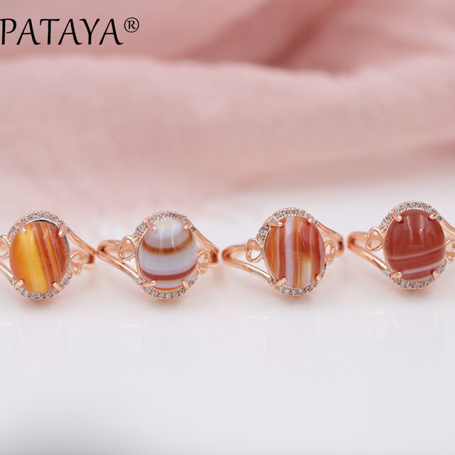 PATAYA New Arrivals Fashion Onyx Natural Stone White Cubic Zircon Rings 585 Rose Gold Lovely Luxury Exquisite Jewelry For Women