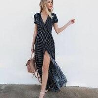 Polka Dot Wrap Long Dress Women Split Short Sleeve Summer Casual Dress 2018 Streetwear Black Maxi Dress Vestidos