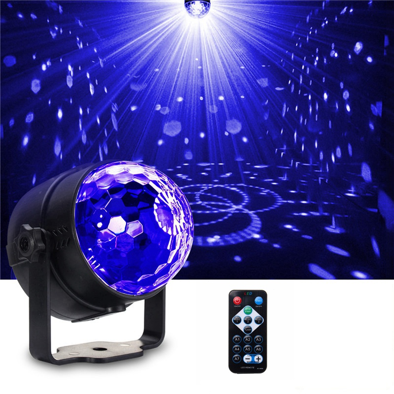 3W Crystal Magic Ball Stage Light UV Purple LED Stage Lighting Effect Self-propelled/Voice-activated/Flashing Party Disco Club