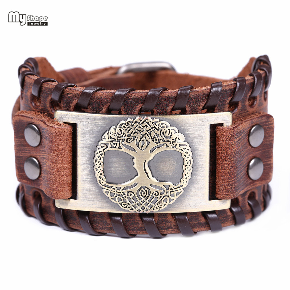 My Shape Tree of Life Vintage Teen Wide Bracelets Bangles Genuine Leather Viking Religion Totem Lucky Bracelet Men Snap Clasps