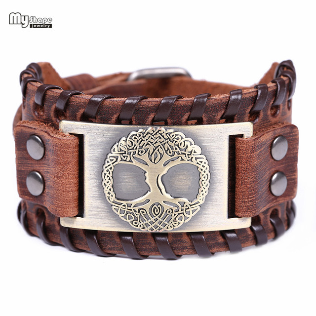 My Shape Tree of Life Vintage Wrap Leather Man Bracelets With Antique Bronze Metal Charm Viking Bracelet Jewelry