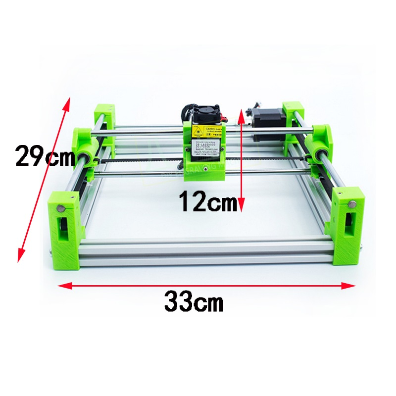 Disassembled height adjustable 500MW 1500MW 2500MW 5500MW 3D printing version green color CNC 2017 mini Laser Engraving Machine