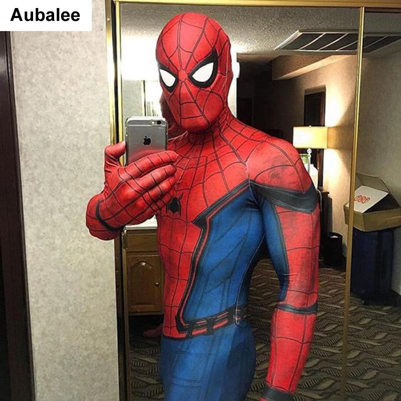 Movie Spider-Man Homecoming Costume Adult Spiderman Cosplay Costume Halloween Cool Superhero Spandex Zentai Suit Aubalee