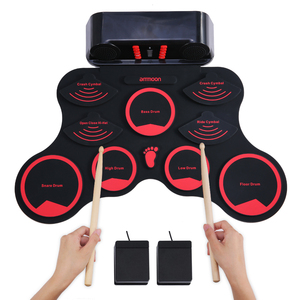 ammoon MIDI Electric Drum Digital Roll-Up Drum Set 9 Silicon Durm Pad Built-in Speakers Rechargeable Battery with 2 Foot Pedals(China)