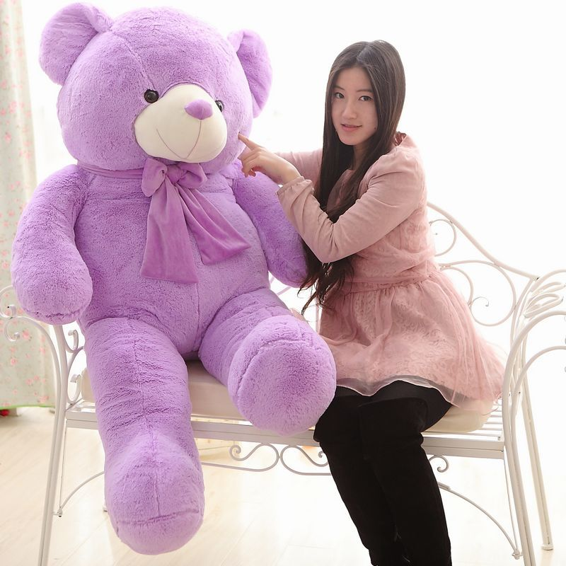 The lovely lavender teddy bear doll plush purple huge teddy bear toy  birthday gift about 160cm the huge lovely hippo toy plush doll cartoon hippo doll gift toy about 160cm pink