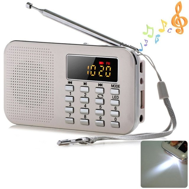 Portable Mini Stereo Multifunctional Digital LCD FM Radio Speaker MP3 Music Player Support TF Card USB with LED Flashlight