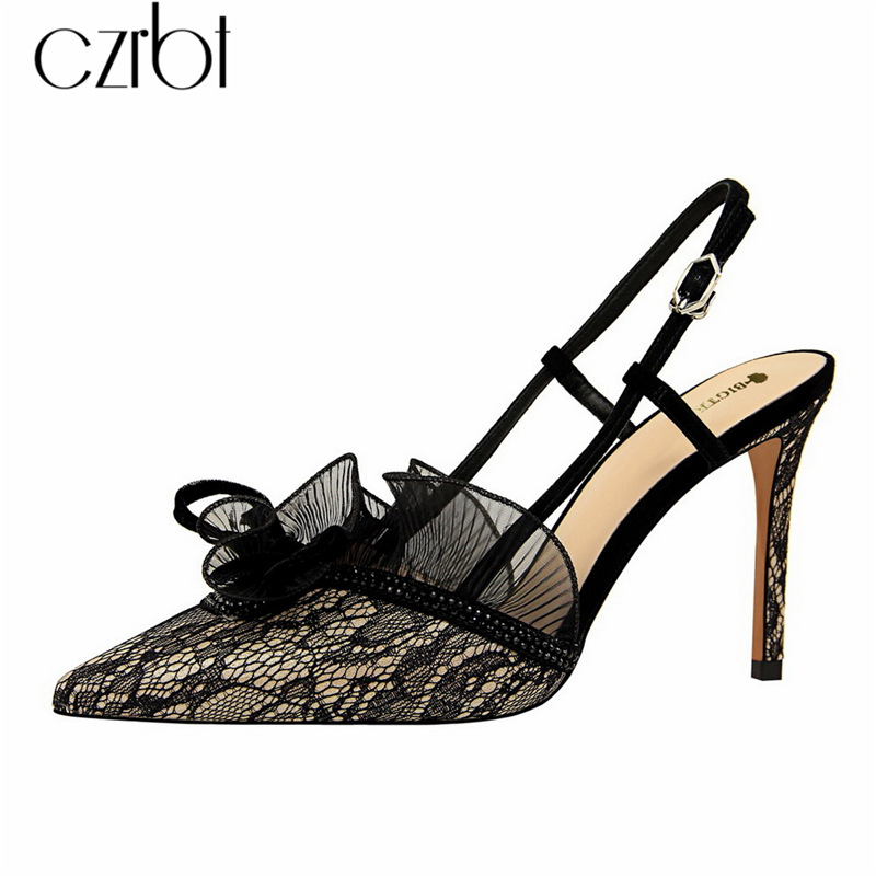 czrbt 2019 Spring New Shoes Women High Heels Fashion Sexy Party Thin Shoes Fine with Crystal Lace Cutout Casual Women Sandals
