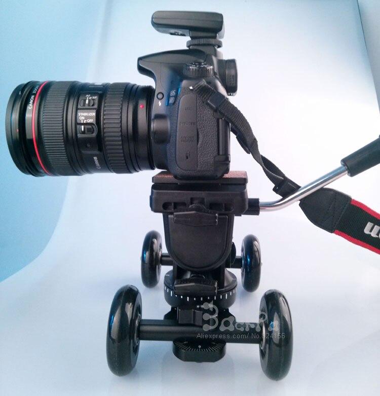 DSLR Rig Photography Dolly + Professional Fluid Tripod Head For Gopro Hero 3  Sj4000 & D610 Dslr Camera Photo Studio Accessories