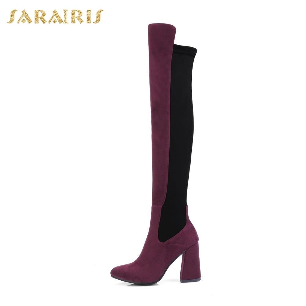 Femmes vin 2018 34 Femme Sur Up Bottes Vente Le Sarairis Plus ardoisé Carré Chaude Zip Haute Rouge Solide Chaussures Noir Genou 43 Talons Taille B4CHwxq