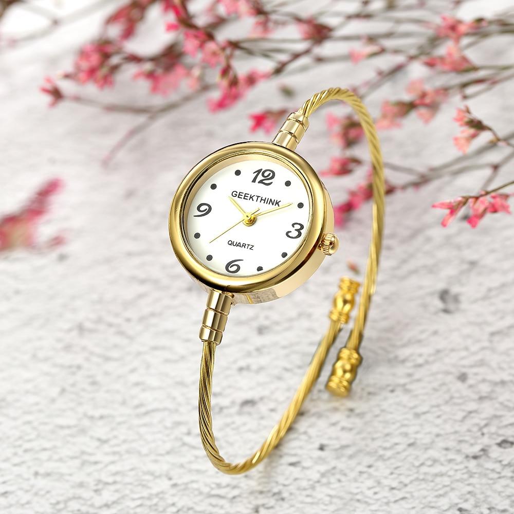 GEEKTHINK Ladies Quartz Bracelet Watch Women Brand Quartz Wrist Watch Clock Female Fashion Casual Steel Strap Relogio Masculino