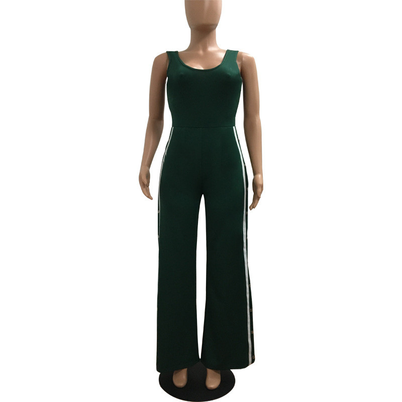 Sexy Single-breasted High Split Jumpsuit Women Sleeveless Nightclub Jumpsuit Solid Black/Army Green Casual Long Pants Overalls