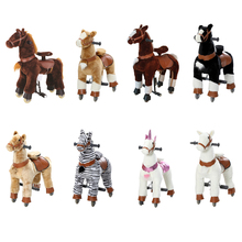 Plush Children Ride on Horse Toys Handmade Scooters Wagons No Battery No Electricity Mechanical Horse With Wheels for Aged 7-14