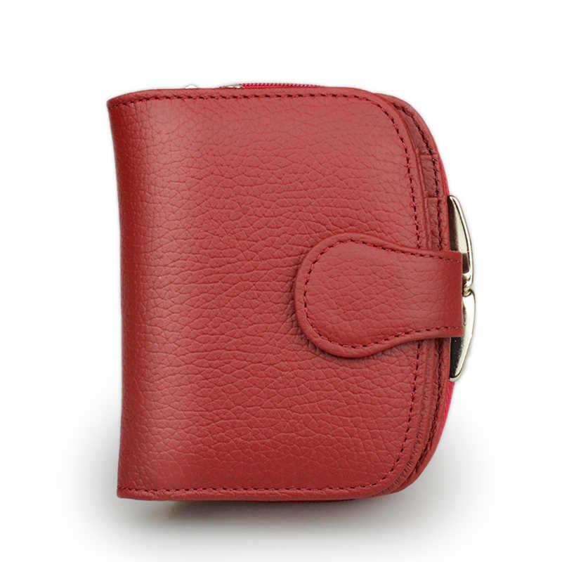 Beth Cat portfel damski portfel mały portfel ze skóry naturalnej Portefeuille kobieta Clutch Coin torebka skóra bydlęca czerwone wino czerwone