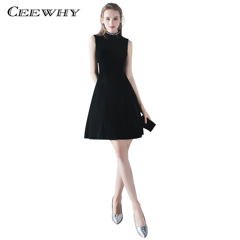 CEEWHY High Collar Vestido   Cocktail     Dresses   2018 Evening Party   Dress   Graduation   Dresses   Elegant Little Black Prom   Dresses