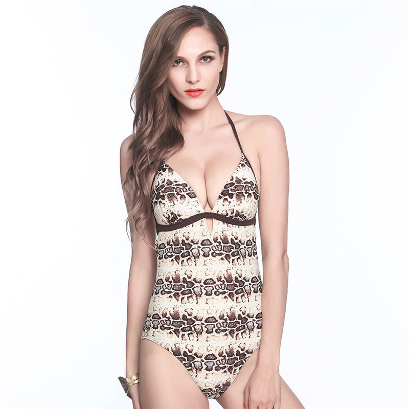 Leopard Women One piece swimsuit Backless Halter Sexy swimwear Beach Wear Wire Free Swim wear push up Bathing Suit one piece swimsuit cheap sexy bathing suits may beach girls plus size swimwear 2017 new korean shiny lace halter badpakken