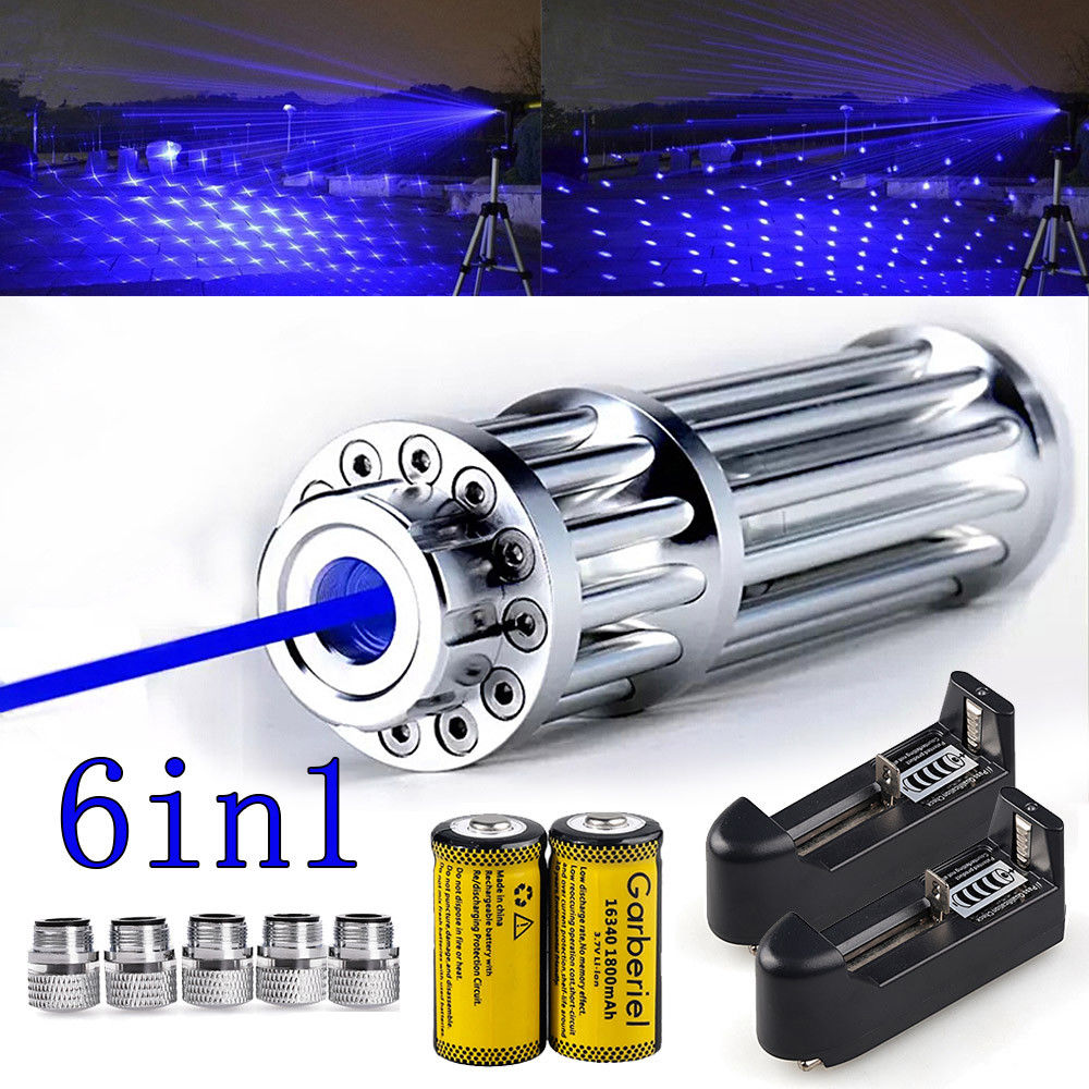 US Stock Military 450nm 6in1 High Power Blue Laser Pointer Lazer Flashlight Visible Beam Light Pen + 5 Caps newest hight quality 450nm blue light laser pointer pen power beam 5 heads with charger with goggles with box