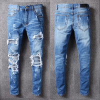 US AM Brand Streetwear Justin Bieber Men's Distressed Destroyed Jeans Pants Flares Patches Skinny Biker Jeans Slim Trousers