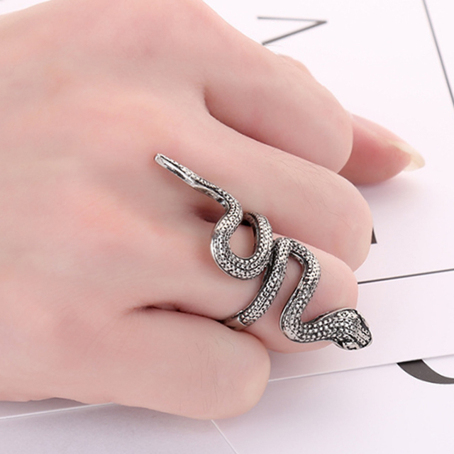 1PC Sale Punk Gothic Silver Men Ring Snake Animal Stainless Steel Rock Vintage W