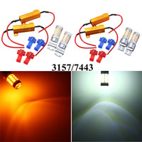 2pcs 3157 7443 Car Lights 42 SMD 2835 LED Auto Turn Light Switchback Light Bulb Dual Color White Yellow With Resistor DC12V