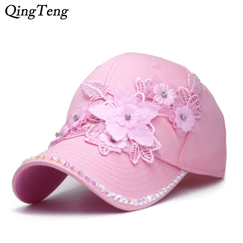 100% Wahr Mode Luxus 3d Blume Frauen Baseball Caps Mädchen Rosa Casual Sonnenhut Sommer Strass Kappe Weibliche Einstellbare Hip Hop Kappe