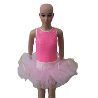 Pink Ballet Tutu Dress Two Pieces Sequin Nylon Lycra Tank Leotard Tutu For Ladies And Girls