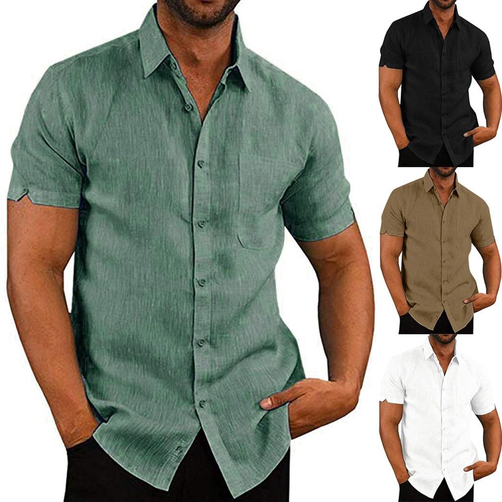 Mens Cotton Linen Shirt Casual Slim Short Sleeve Blouse Shirt Fashion Tops