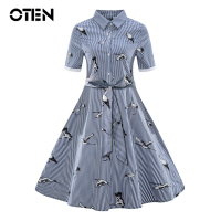 OTEN Women Summer Short Sleeve Turn Down Collar Flamingo Striped Printed Vintage Retro 50s 60s Pin