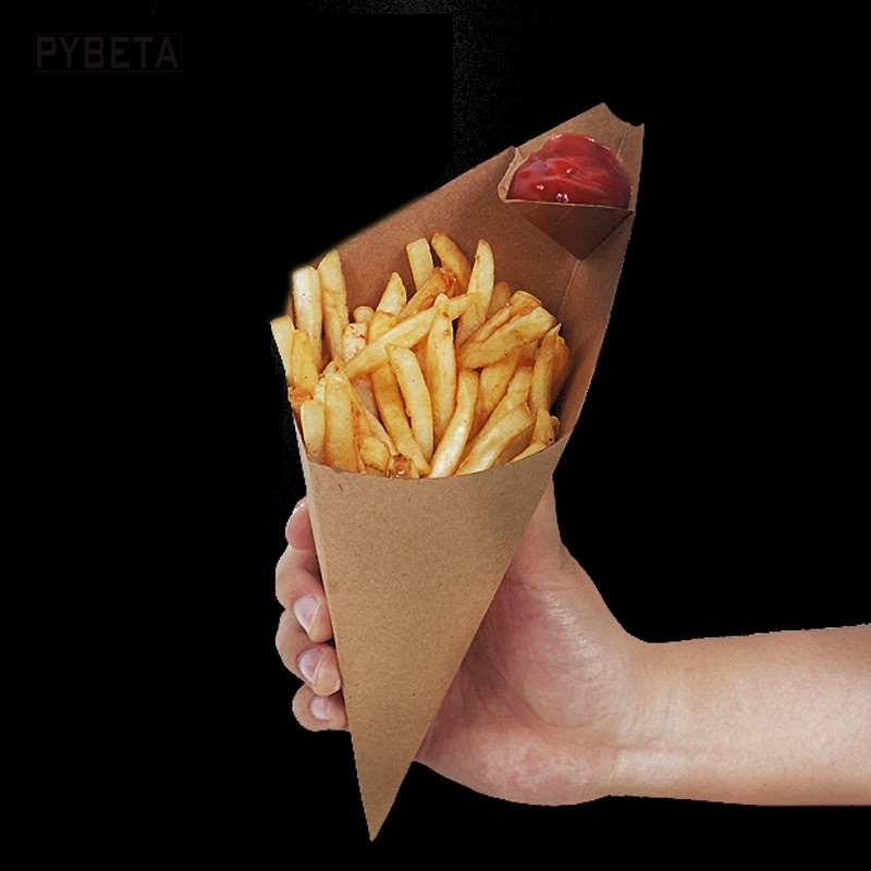 S L Disposable Cone Kraft Paper French Fries Cup Fried Chicken Wings Popcorn Dessert Storage