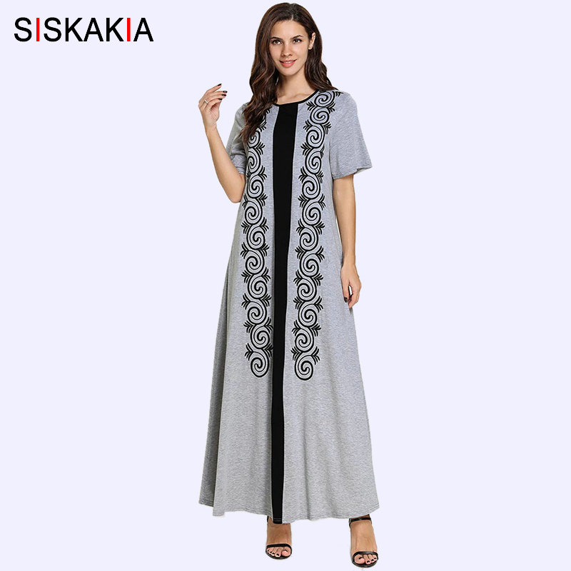 Siskakia T Shirt Long Dress Grey Casual Summer Dresses 2019 Plus Size Ethnic Geometric Floral Embroidery