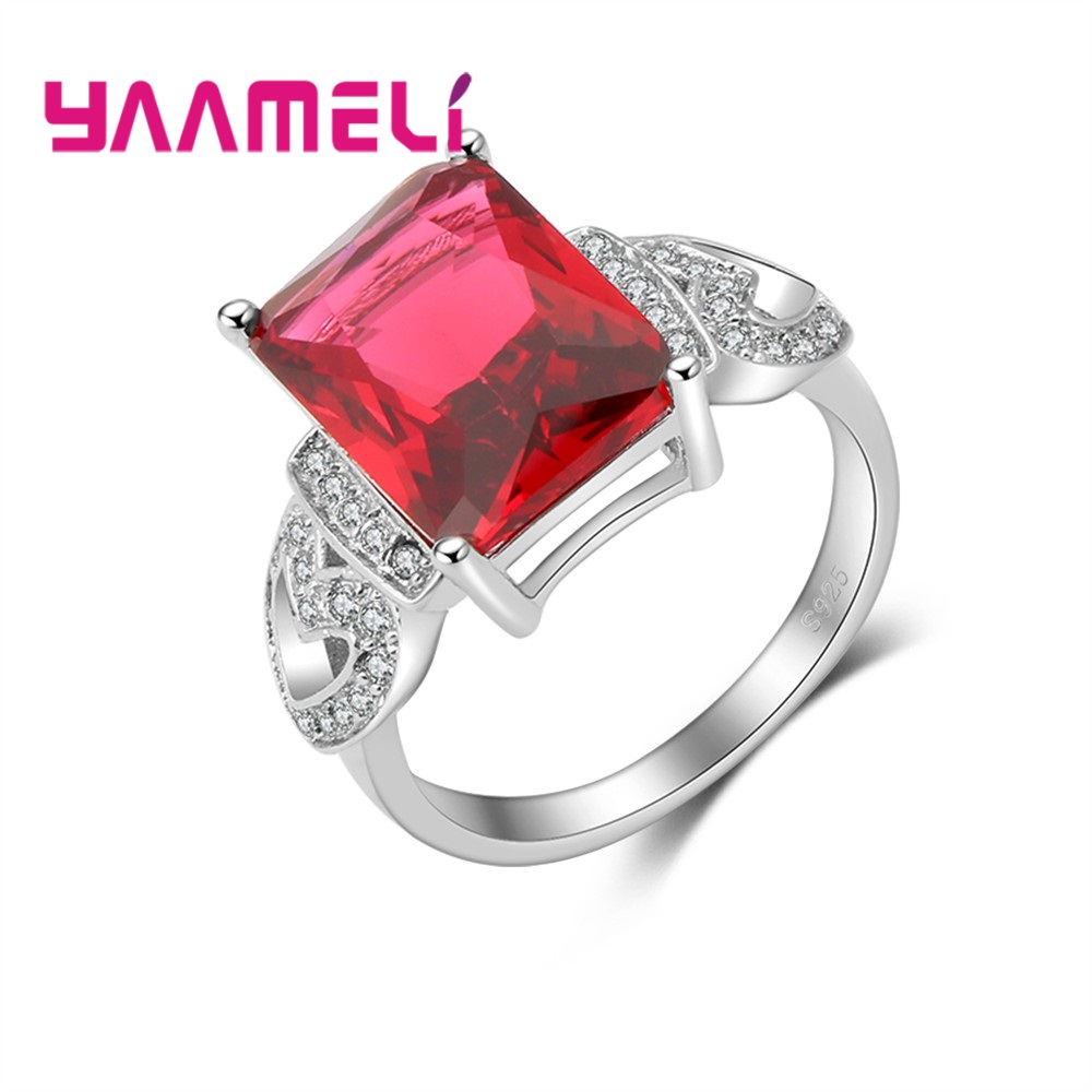 Giemi Classic Rectangle Big Red Zircons 925 Sterling Silver Heart Shape Women Rings For Wedding Top Quality Drop Shipping