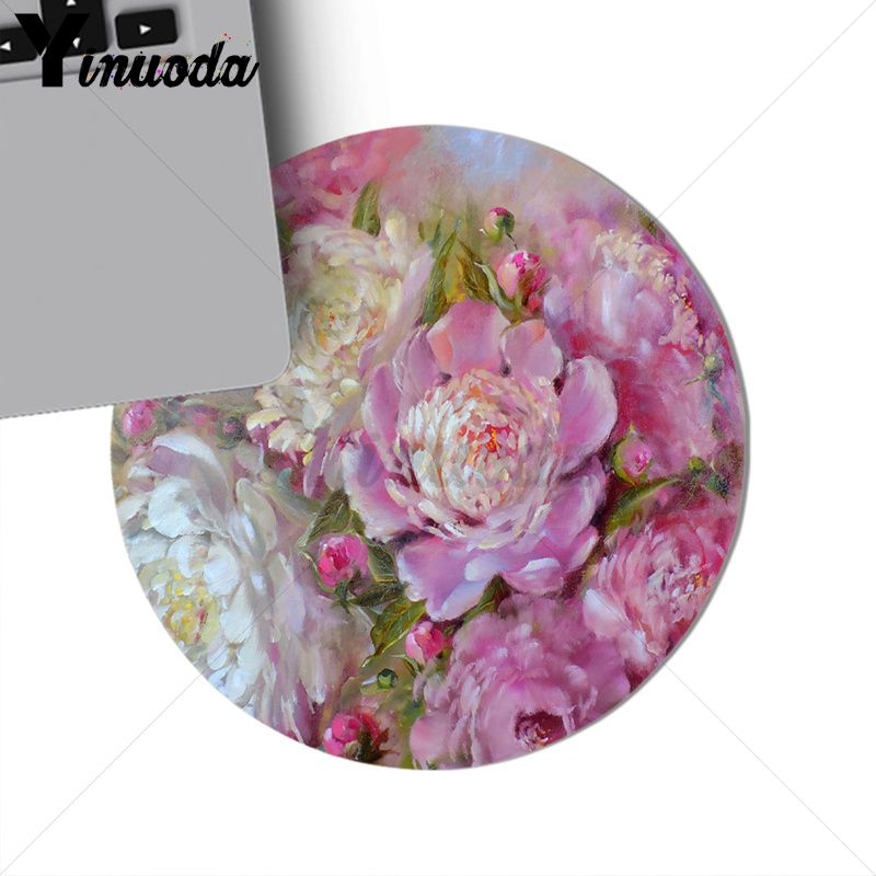 Yinuoda white pink peonies Rubber PC Computer Gaming mousepad Size for 200*200*2mm and 220*220*2mm round mousepad Game Mousepad