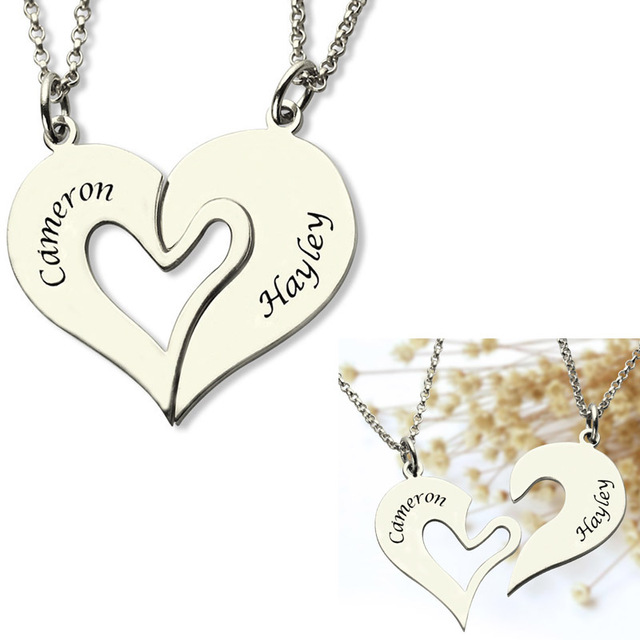 86e7187b09 necklace pendants with names images Custom breakable heart 2 names necklace  sets for couple jpg