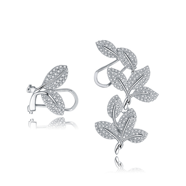 New Fashion AAA Crystal Zircon Leaves Clip Earrings 18KGP White Gold Plated Women Brand Jewelry Free Shipping (CE055)