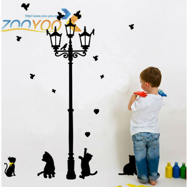 lovely cats playing with butterfly around lamppost wall decal zooyoo030l removable pvc wall sticker home decorations