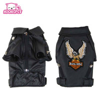 Small Medium Dog Pet Luxury Leather Jacket Coats For Dog Autumn Winter Eagle Chihuahua Dog Cat