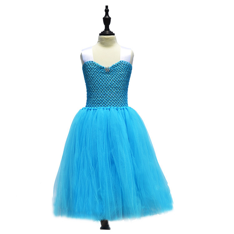 Snow Queen Halloween Party Vestidos Cosplay Costume Girl Dresses Summer Girls Clothes Girls Princess Elsa Tutu Dress elsa dress sparkling snow queen elsa princess girl party tutu dress cosplay anna elsa costume flower baby girls birthday dresses