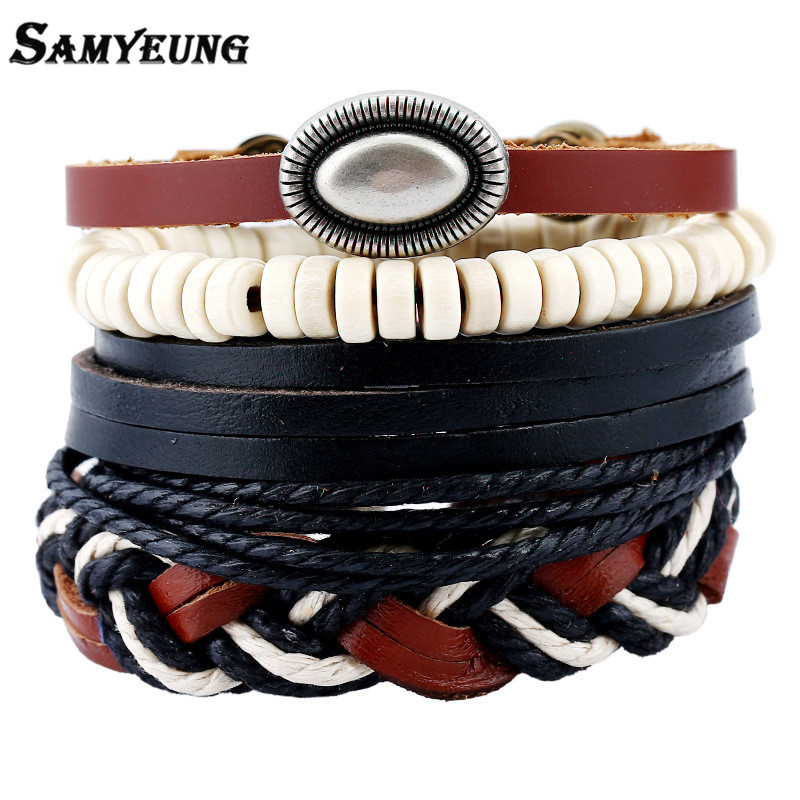 SamYeung 4Pcs Punk Leather Bracelets & Bangles Men Wristband Rope Cuff Bracelet for Male Women Braslet Pulseras Set Sale