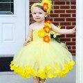 Bonito Do Casamento Da Menina de Flor Tutu Vestido de Princesa Criança Vestidos Para A Festa de Aniversário Concurso de Fotografia de Fadas Da Menina de Flor de Tule vestido de Baile