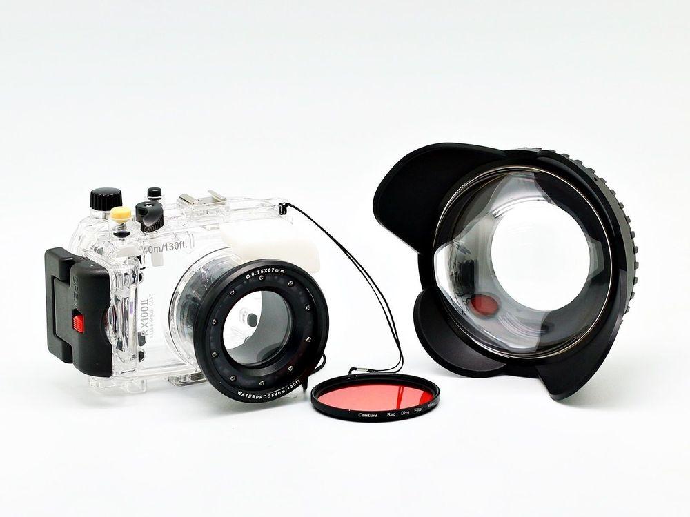 For Sony DSC-RX100 II RX100 RX100 II Mark II underwater Waterproof Housing Case + Fisheye Wide Angle 67mm Lens + Red Filter