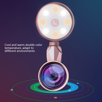 led warm RK19S LED Selfie Flash Light Fill Light Warm&Cold Bulbs With Wide Angles Fisheye Marcro Lens 360 Rotation For iPhone X/8 Phones (4)