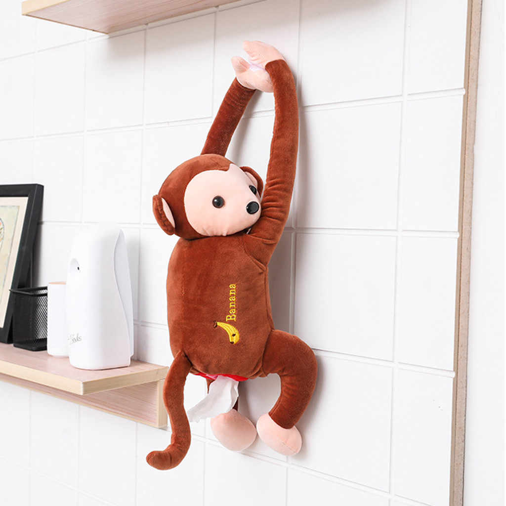 Creative Pipi Monkey Tissue Box  Cartoon Paper Napkin Tissue Box Car Armrest Box Cute Interior Products Car Accessoriess
