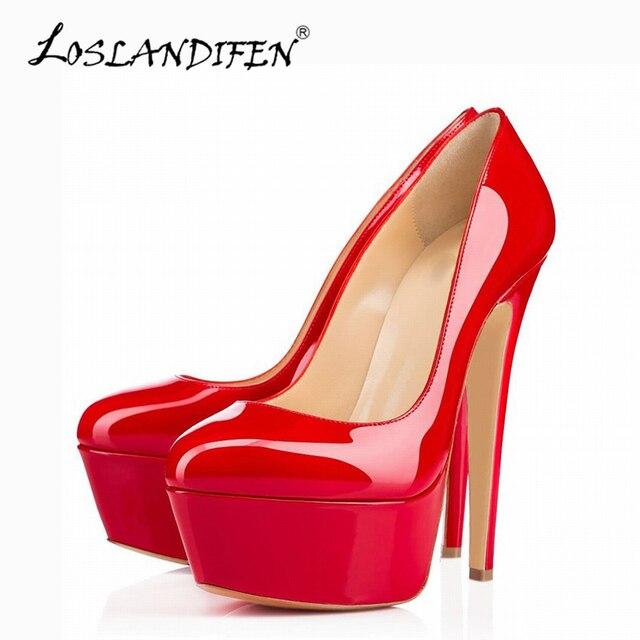 21a3a8bb2 LOSLANDIFEN Extremamente Alta de Salto Plataforma Mulheres Bombas Sapatos  de Couro Sexy Bombas Mulher Sapatos de