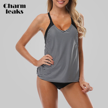 Charmleaks Women Tankini Set Striped Swimwear Halter Swimsuit Padded Bandage Bikini Bathing Suit Beachwear