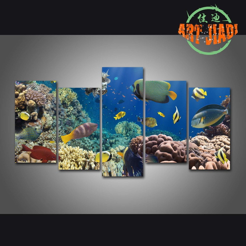 Red coral painting popular red coral print buy cheap red coral print - New 5 Piece Set Canvas Art Coral Fish In The Red Sea Hd Canvas