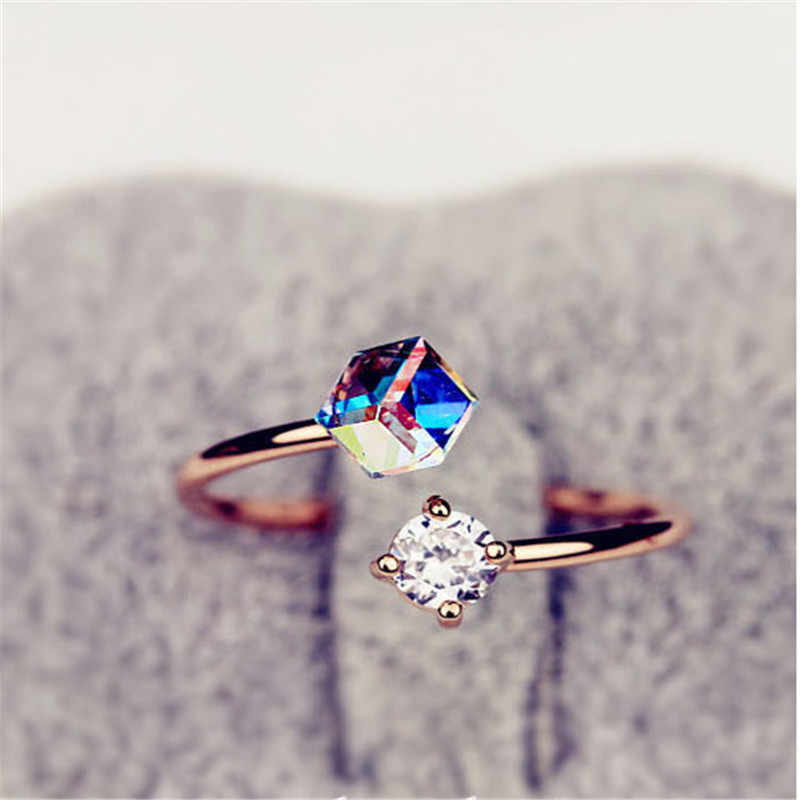 2019 Open Adjustable Rings For Female Super Shiny Zircon Ring Engagement Wedding Rings For Women Simple Rose Gold Ring For Women